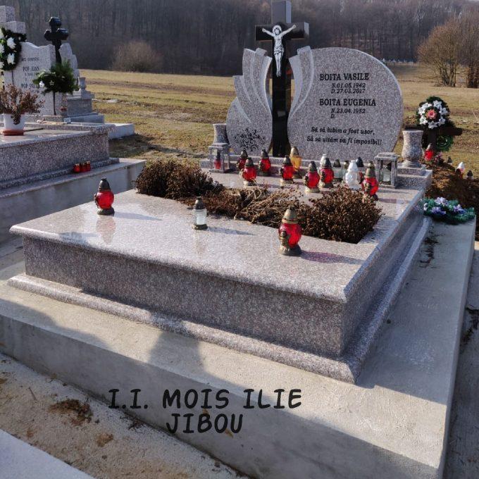 Cadru Granit cu Inaltator si Felinare + Cruce Granit Negru Model 12 v2